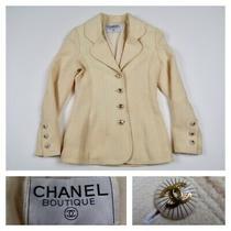 Chanel Boutique Women's Cream Wool Blend Jacket Blazer Elegant Size Us 4 Eu 34  Photo