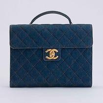 Chanel Briefcase Blue Denim Photo