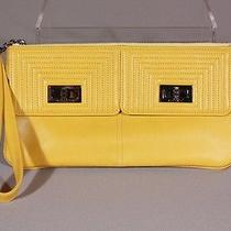 Chanel Bright Yellow Leather Wrist Clutch Evening Bag  Photo