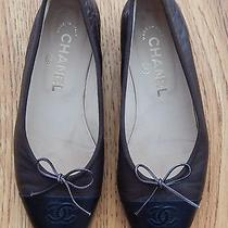 Chanel Brown/black Leather Two Tone Cc Logo Cap Toe Womens Sz 36.5 Ballet Flats  Photo