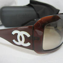 Chanel Brown Mother of Pearl 5076-H Sunglasses  W/ Black Case Photo