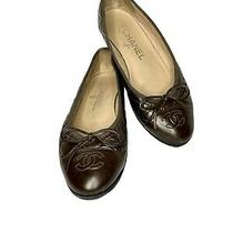 Chanel Brown Quilted Leather Signature Cc With Bow Ballet Flats Italy Size 36 Photo