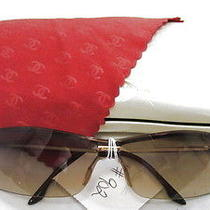 Chanel Brown Rimless Sunglasses With Logo Plate Wow  Photo