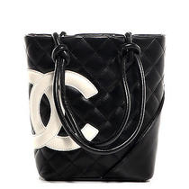 Chanel Calfskin Cambon Ligne Quilted Small Tote Bag Purse Black White Cc Photo