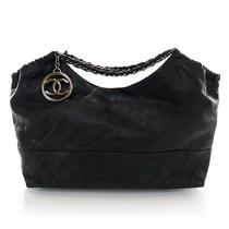 Chanel Calfskin Coco Cabas Tote Bag Handbag Hobo Black Cc Photo