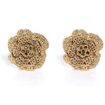 Chanel Camellia Crystal Clip on Earrings Gold Logo Cc Photo