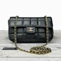 Chanel Camellia Mini 2.55 Black Quilted Lambskin Leather Crossbody Handbag Purse Photo