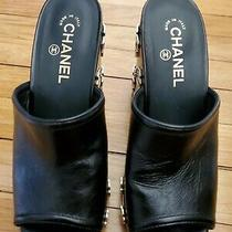 Chanel Camellia  Wedge Mules Sandal Shoe Black  With  Gold Flowers Sz 8.5 to 9 Photo