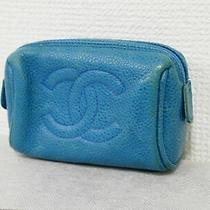 Chanel Caviar Skin Blue Pouch Mini Pouch Accessory Case Leather Auth 4370p Photo