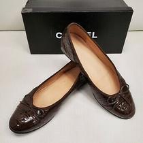 Chanel Cc Brown Patent Leather Cap Toe Ballet Flats Shoes W/bow Sz. 38 1/2 Photo