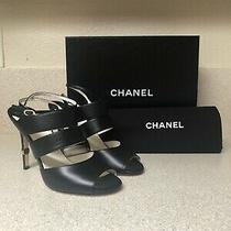 Chanel Cc Lambskin Leather Heel Sandal Black 39 / 9 Photo