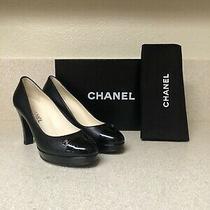 Chanel Cc Leather Cap Toe Pump Black 37.5 / 7.5 Photo