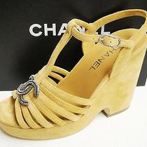 Chanel Cc Logo Beige Suede Leather T-Strap Platform Wedge Sandals Shoes 37 Photo
