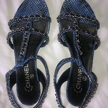 Chanel Cc Logo Blue Python Silver Chain Gladiator Flats Sandals 40.5 Photo