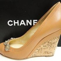 Chanel Cc Logo Leather Metallic Camellia Flower Cork Wedge Shoes 41 Photo