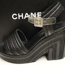 Chanel Cc Logo Leather Platform Wedge Sandals Shoes 39 Photo