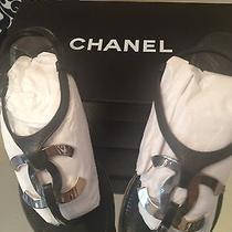 Chanel Cc Logo Sandals Flats Black & Silver Thongs Shoes Size 36.5 Us 6.5  Photo