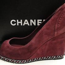 Chanel Cc Logo Suede Chain Wedge Pumps Shoes 39.5 Photo