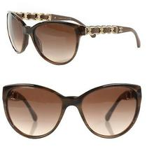 Chanel Chain and Leather Sunglasses Brown 5215-Q Photo