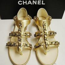 Chanel Chain Leather Gladiator Gold Cc Logo Sandals Flats Shoes 37.5 14p Photo