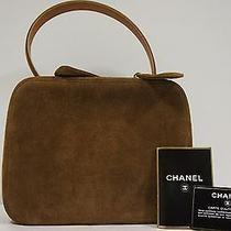 Chanel Chestnut Brown Suede Leather Vanity Tote Bag Photo