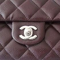 Chanel Classic Caviar Leather Shoulder Bag Silver Cc Short Chain Clutch Nwt Photo