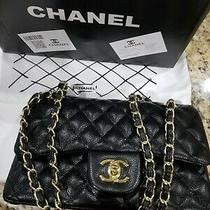 Chanel Classic Double Flap Medium Black Leather Bag Handbag Purse Ladies  Photo