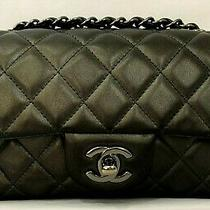 Chanel Classic Leather Quilted Mini Rectangular Flap Bag Shw Chain Cc Logo Franc Photo