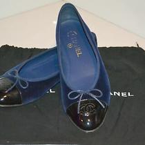 Chanel Classic Navy & Black Cap Toe Ballet Flats Shoes Size 39.5 Fits 9 Photo