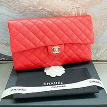 Chanel Classic Quilted Red Caviar Flap Leather Clutch Photo