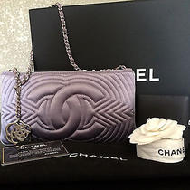 Chanel Classic Satin Purple Silver Hw Camellia Charm Clutch Pochette Evening Bag Photo