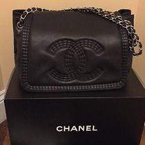 Chanel Coco Bengal Large Calf Skin Accordion Flap Bag Black Photo