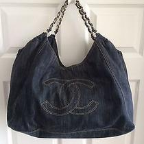 Chanel Coco Cabas Blue Denim Shoulder Bag Classic Authentic Pristine  Photo