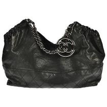 Chanel Coco Cabas Shoulder Bag Black Leather Silver Hardware Authentic Classic Photo
