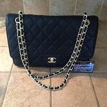 Chanel Coco Caviar Black Classic Flap Jumbo Bag Purse Caviar Gold Hardware Bag Photo