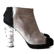 Chanel Coco Cc Logo Black Silver Suede Ankle Shoe Boot Heel Pump 40 9 Knee Toe Photo