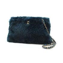 Chanel Coco Chain Shoulderbag A15224 Dark Green Lapin Fur 10058197 Photo