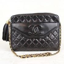 Chanel Coco Logo Matelasse Black Lambskin Chain Shoulder Bag W/ Tassel 13414 Photo