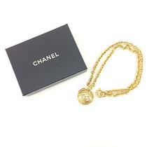 Chanel Coco Mark Cc Logo Gold Tone Chain Pendant Necklace Women's Accessory Photo