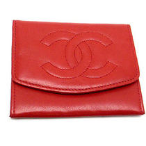 Chanel Coco Mark Stitch Coin Case Red Leather (Dh33627)  Photo