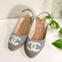 Chanel Coco Pumps Wedge Sandals Mules Stripe Size Eu 37 Blue White Japan Photo