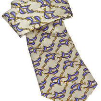 Chanel Cream and Purple Dolphin Print Silk Tie Photo