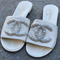 Chanel Cream Lambskin Leather Beaded Cc Logo Mules Slide Sandal Flop Flat 39 Photo
