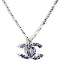 Chanel Crystal Baguette Cc Necklace Accessory Blue Silver New Photo