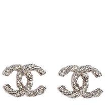 Chanel Crystal Cc Twisted Earrings Silver Photo