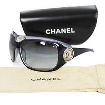 Chanel Dark Purple & Iridescent Silver Logo Monogram Oversized Sunglasses 6023 Photo