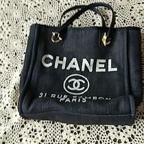 Chanel Deauville Tote Bag Blue Denim Canvas Leather Cc Logo Gold Chain Strap Photo