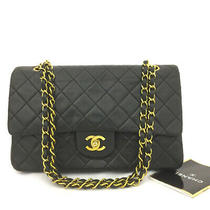 Chanel Double Flap 25 Quilted Cc Logo Lambskin W/chain Shoulder Bag Black/70664 Photo
