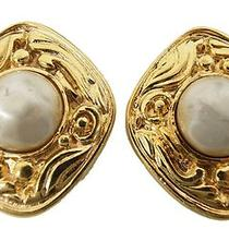 Chanel Earring Plating  Imitation Pearl  Authentic Photo