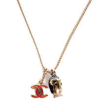 Chanel Enamel Cc Doll Necklace Chain Pendant Costume Jewelry Gold Red Black Photo